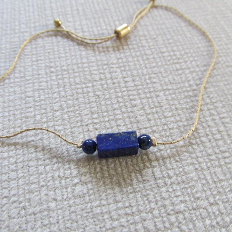 Blue Lapis /& gold unisex bracelet w slide clasp closure rectangle and round beads on gold beading chain adjustable handmade women girls