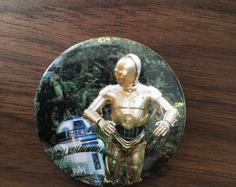 Star Wars R2D2 & C3PO Vintage Button Pin Pinback Official Licensed