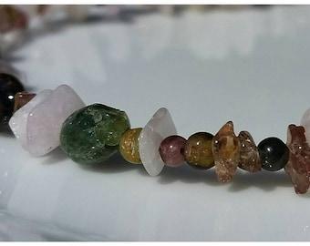 Kunzite, Andalusite Garnet, and Tourmaline necklace.
