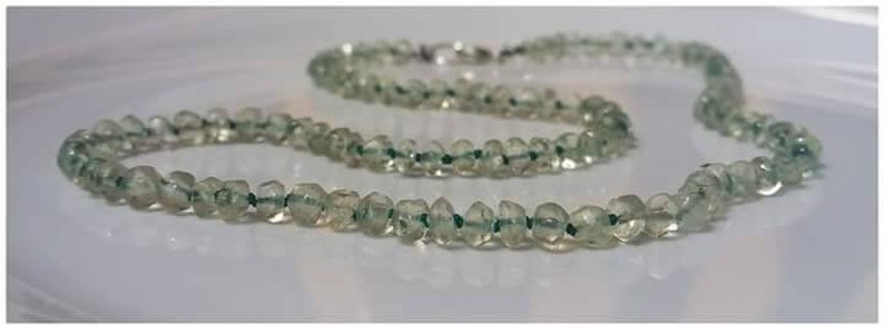 One-of-a-kind aka Prasiolite Rare Grounding Green Amethyst Knotted faceted natural soft lime gemstone necklace ShawnDody Designs.