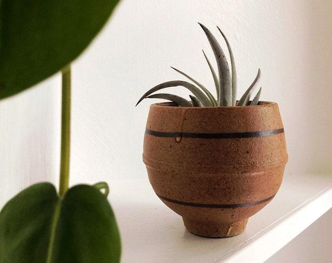 Small Handmade Ceramic Cup / Ceramic Footed Plant Holder / Farmhouse Minimalist MCM Home Kitchen Nursery Decor