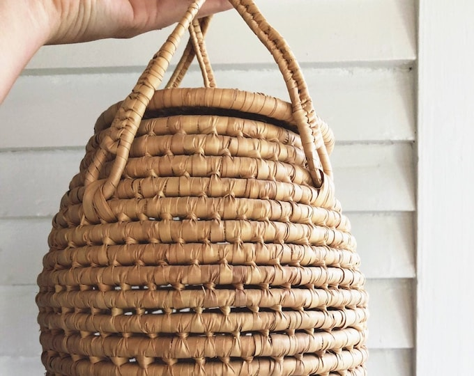 Large Lidded Coil Basket / Boho Basket with Handles and Cover / Bohemian or Farmhouse Home and Nursery Decor