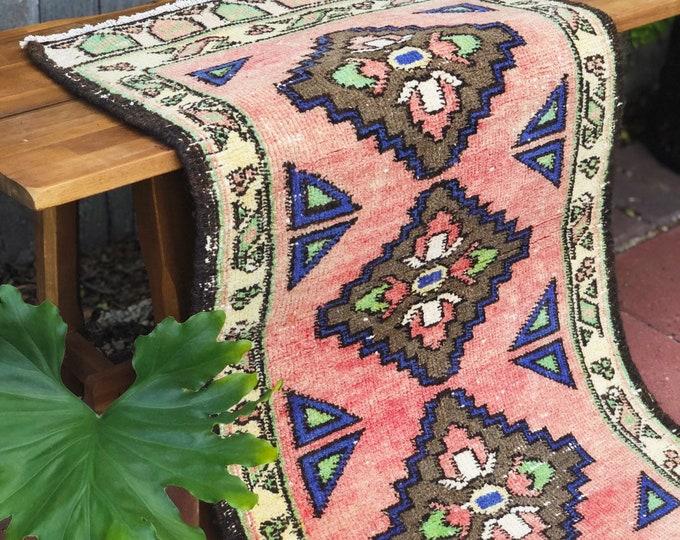 Vintage Pink Turkish Wool Rug / Small Bathroom , Kitchen, Entryway Rug / Bohemian Farmhouse Rustic Home or Nursery Decor