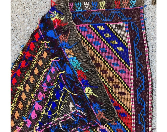 Vintage Colorful Handmade Needle Embroidered Kilim Rug / Boho Rug or Wall Hanging Textile / Bold Geometric Turkish Rug with Tassles