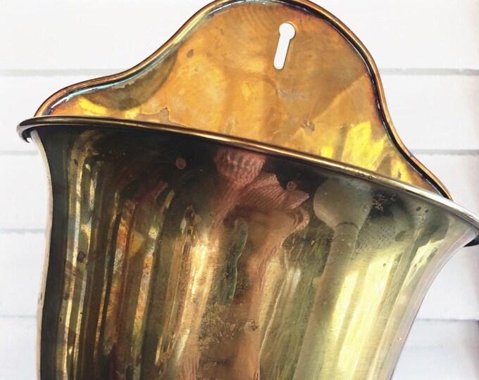 Boho Brass Wall Pocket for Houseplants / Vintage Brass Plant Holder / Hollywood Regency Mid Century Modern Brass Wall Planter