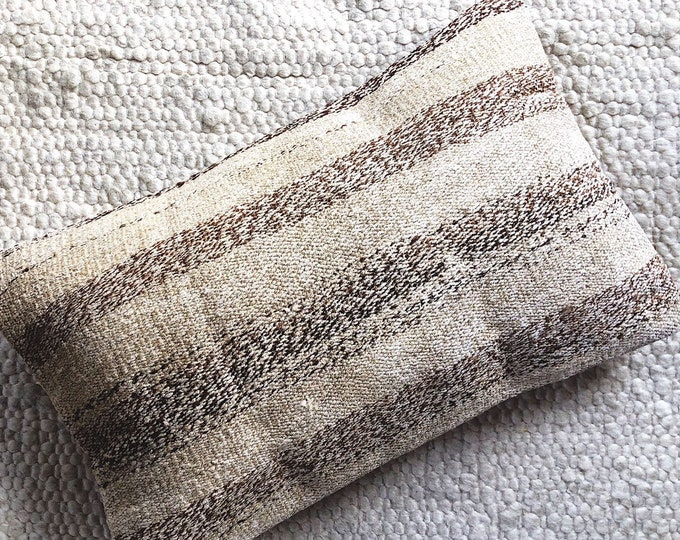 Farmhouse Beige and Brown Stripe Pillow / Boho Rustic Kilim Pillow / Handmade Turkish Rug Pillow 12in by 20in