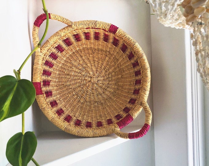 Pink Boho Basket with Handles / Global Decor Vintage Woven Basket / Farmhouse or Bohemian Home Decor / Nursery Decor