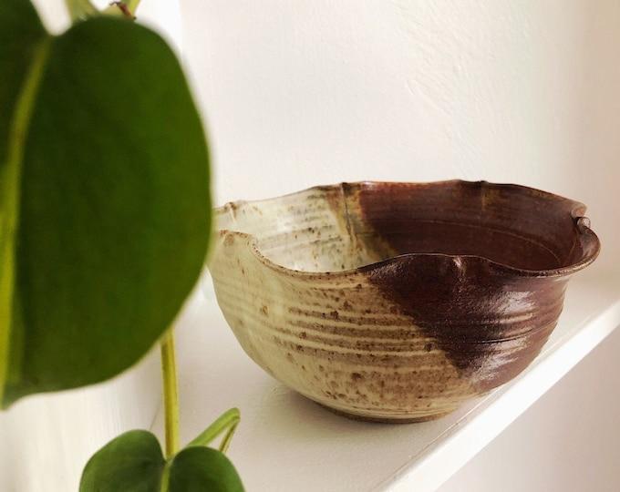 Unique Handmade Ceramic Bowl / Bohemian Farmhouse Studio Pottery Serving Bowl / Minimalist Boho Home and Kitchen Decor