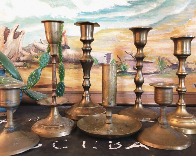 Set of 7 Vintage Brass Candlesticks / Mix and Match MCM Brass Candle Holders / Farmhouse Boho Event and Wedding Decor / Instant Collection