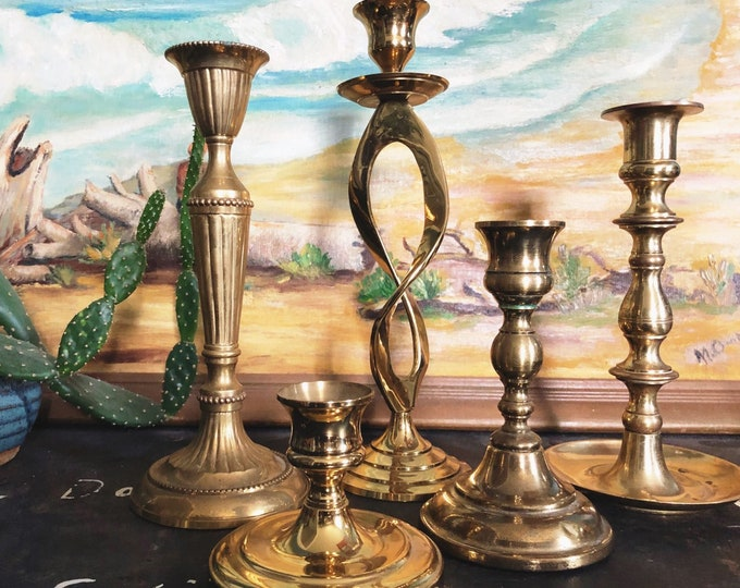 Mix and Match Solid Brass Candle Holders / Collection of 5 Vintage Brass Candlesticks / Bohemian Farmhouse Wedding and Home Decor