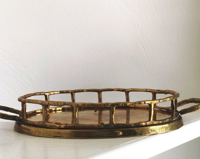 Little Solid Brass Bamboo Style Tray / MCM Hollywood Regency Style Catch All Tray / Boho Eclectic Mid Century Home Decor / Gift for Her
