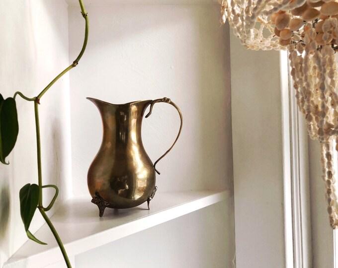 Large Solid Brass Pitcher / MCM Hollywood Regency Vintage Home Decor / Made in India Brass Pitcher or Vase