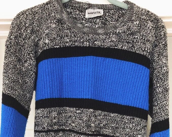 Vintage 80s 90s Sweater / Blue Black and Grey Unisex Sweater / Retro Closet