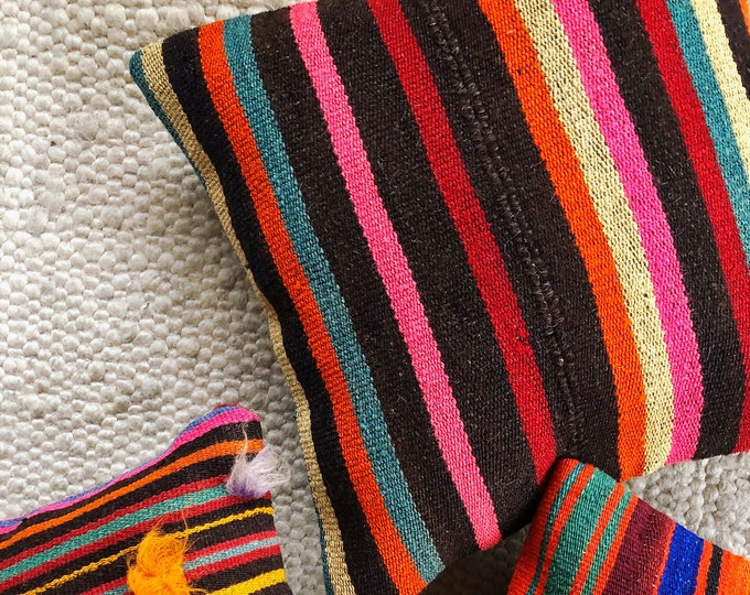 16in X 16in Stripe Kilim Pillow Cover / Bold Bohemian Home Decor / Vintage Turkish Rug Pillow