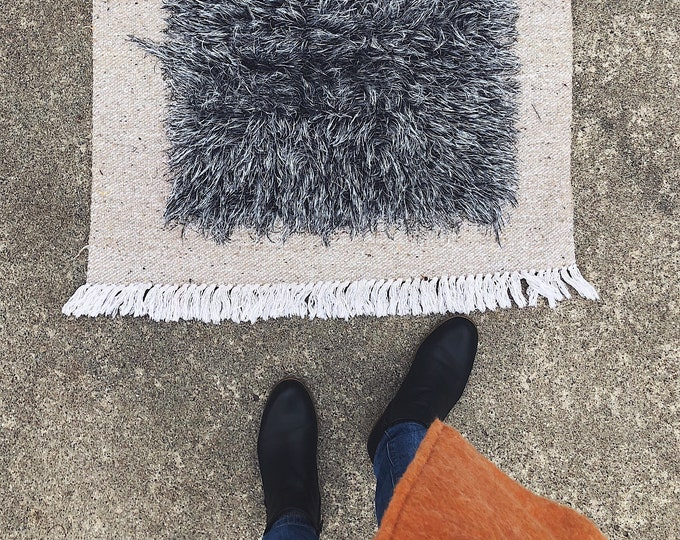 Vintage Fuzzy Handmade Turkish Rug / Grey and Cream Boho Farmhouse Area Rug / Small Area Rug / Bohemian Home and Nursery Decor