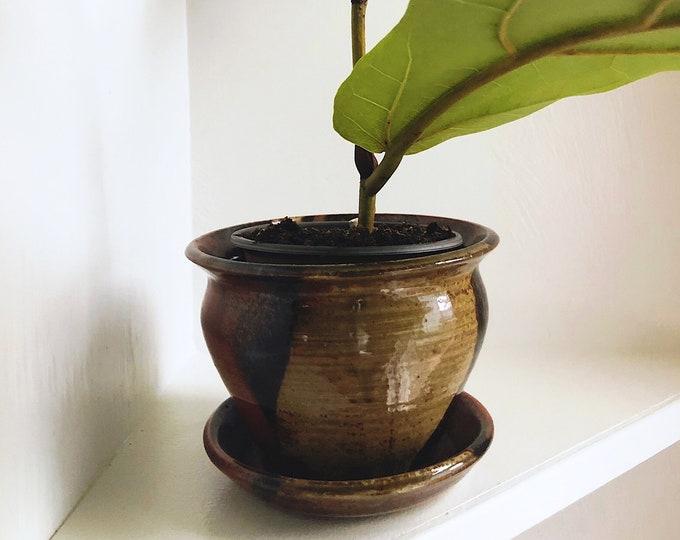 Handmade Studio Pottery Plant Holder / Vintage Boho Ceramic Planter with Drainage Holes and Tray / Farmhouse Rustic Home and Event Decor