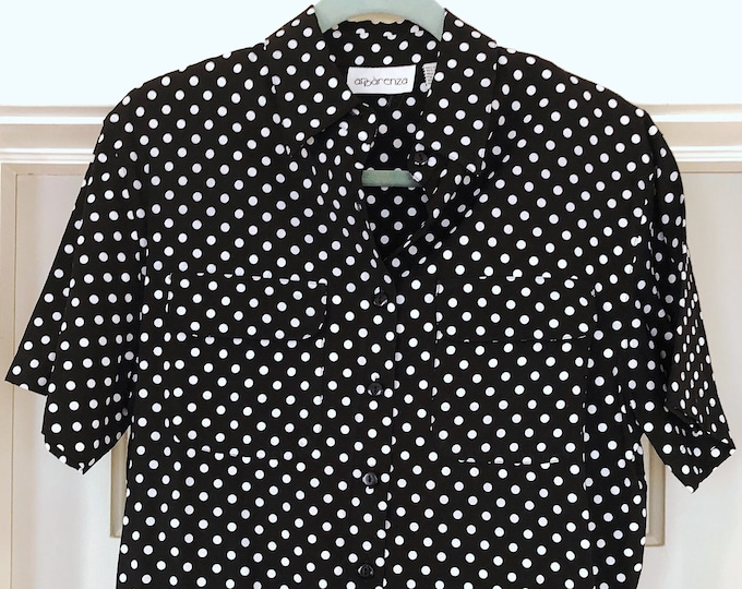 Vintage Black and White Short Sleeve Blouse / Polka Dot Button Up Blouse / 90s Style Fashion