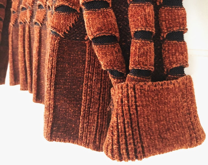 Copper Colored Vintage Sweater / Burnt Orange Vintage Sweater / Boho Style Clothing