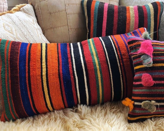 Bright Stripe Boho Kilim Rug Pillow Cover / Eclectic Home Decor Throw Pillow / 12in X 24in Lumbar Pillow
