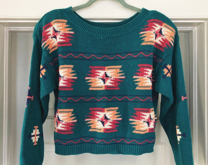 Southwestern Vintage Cropped Sweater / Teal Pink Peach Retro Sweater with Shoulder Pads / Bohemian Clothing