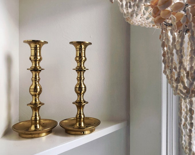 Pair of Solid Brass Candlesticks / Vintage Boho Brass Candle Holders / MCM Hollywood Regency Home Wedding and Event Decor