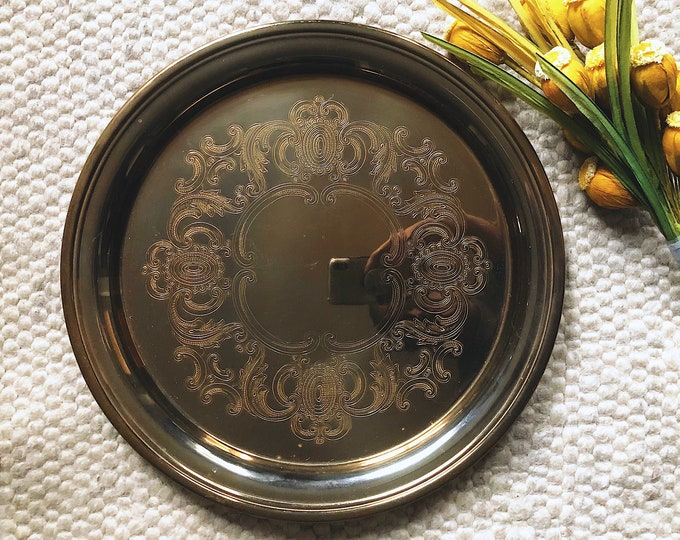Large Solid Brass Tray / Vintage Baldwin Brass / MCM Farmhouse Boho Home and Event Decor