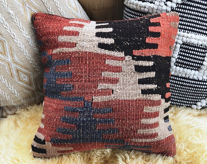Kilim Pillow Cover / Global Textile Decor / Decorative Rug Pillow / Farmhouse or Bohemian Home Decor 14in X14in