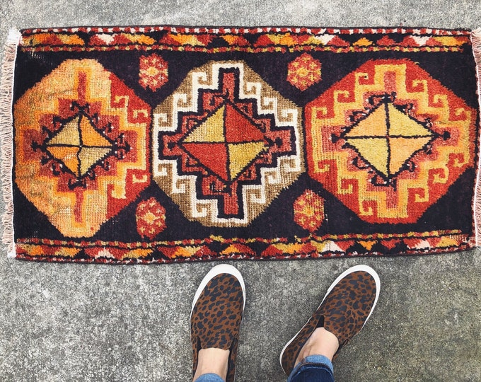 Vintage Handmade 3ftX1.5ft Wool Rug / Burnt Orange, Red, Brown Boho Turkish Rug / Modern Farmhouse Home Decor