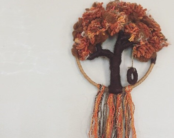 Vintage Wall Hanging / Autumn Tree with Swing Yarn and Rope Wall Textile / Mid Century Wall Weaving