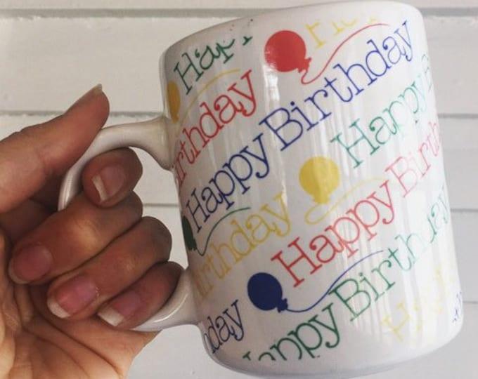 Vintage 90s HAPPY BIRTHDAY Mug / Primary Colors Birthday Mug / Boho Birthday Gift Idea