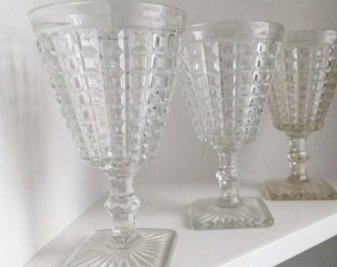Set of 6 Clear Cut Glass Goblets / Vintage Barware / Bohemian or Farmhouse Wedding or Home Decor