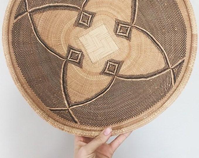 Large Vintage Woven Basket / Global Boho Decor / Intricate Straw Basket