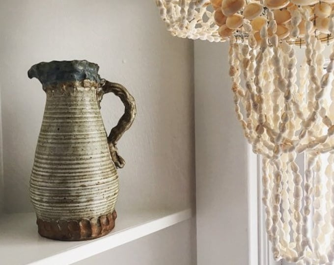 Unique Studio Pottery Pitcher / Handmade Hand Thrown and Pinched Clay Carafe / Bohemian and Farmhouse Kitchen Decor
