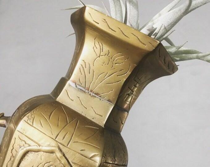 Antique Chinese Etched Brass Vase / Ornate Brass Urn / Global Decor