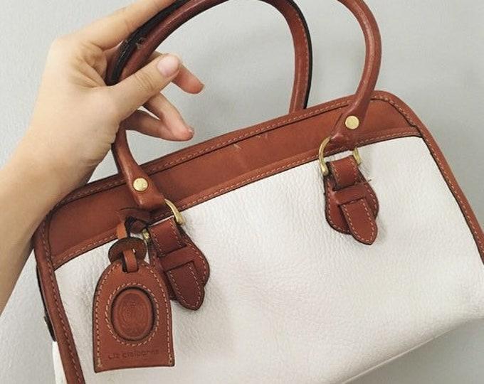 Vintage White Leather Liz Claiborne Handbag / Dooney and Bourke Style Purse / 80s 90s Fashion Top Handle Pebble Leather Purse