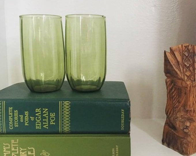 Set of 4 Vintage Green Drinking Glasses / Farmhouse Kitchen