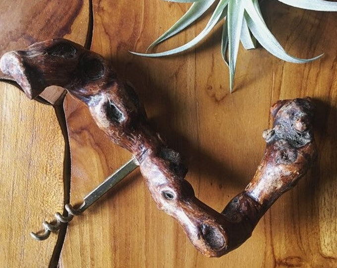 Vintage Wine Bottle Opener / Knotted Wood Handle Corkscrew / Bohemian or Minimalist Home and Kitchen