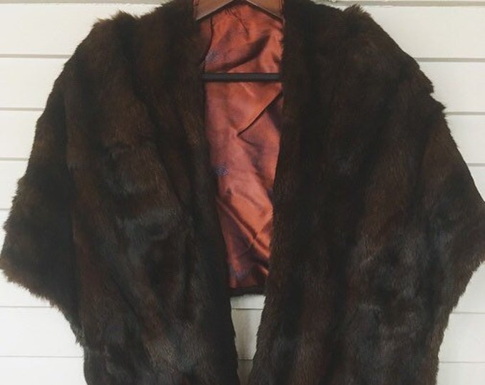 Vintage Fur Wrap / Elegant Brown Fur Cape or Shrug / Winter Wedding or Holiday Fur Coat