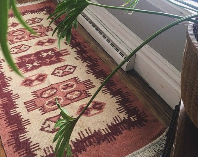 Vintage Hand Knotted Wool Rug / Reversible Runner Rug Pinks and Cream / Bohemian or Farmhouse Home Decor