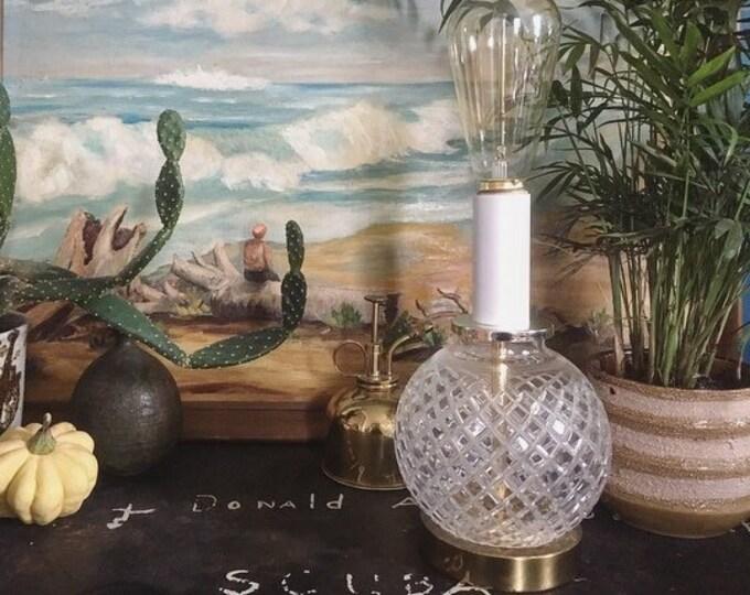 Vintage Cut Glass and Brass Lamp / Boho Modern Lamp / Unique Lighting