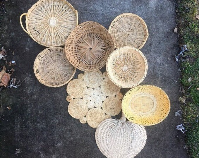 Vintage Basket Collection / Set of 8 Boho Baskets and Trivets / Rustic or Farmhouse Home Wedding and Nursery Decor