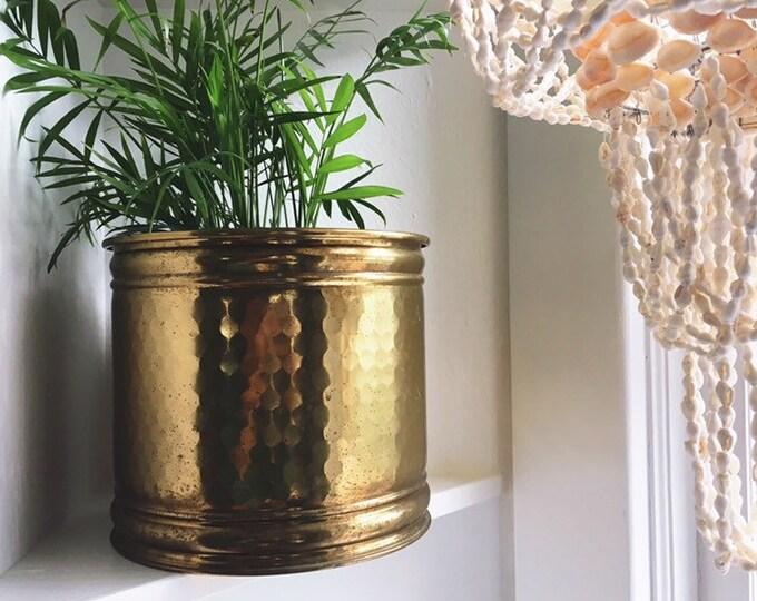 Bohemian Brass Planter / Vintage Solid Brass Plant Holder / MCM Farmhouse Minimalist Home or Wedding Decor