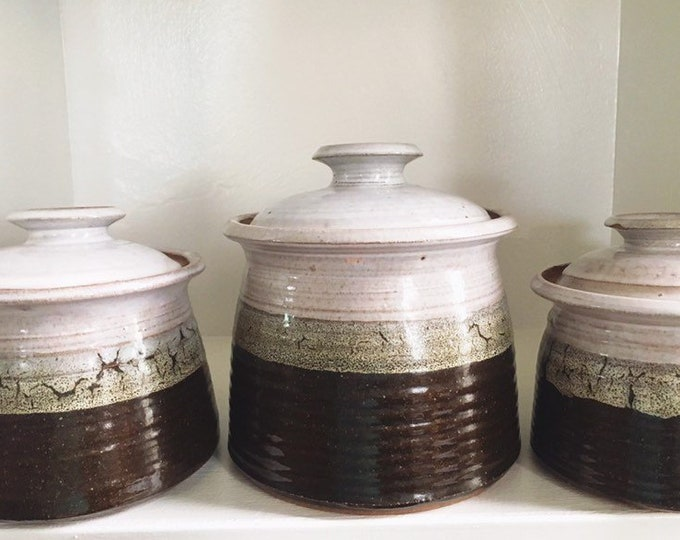 Collection of 3 Ceramic Canisters with Lids / Lidded Studio Pottery Kitchen Storage / Farmhouse Rustic Bohemian Home and Kitchen Decor