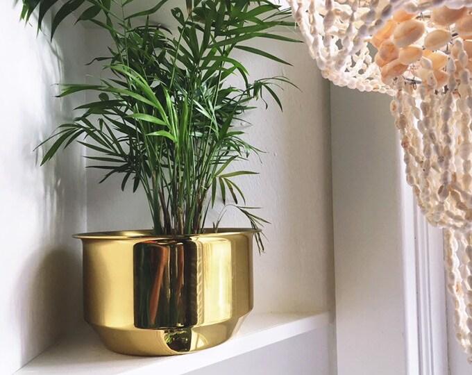 Hollywood Regency Style Brass Planter / Simple Modern Brass Plant Holder / MCM or Boho Home and Wedding Decor
