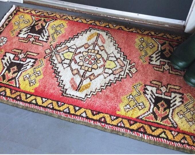 Authentic Hand Knotted Turkish Wool Rug / Vintage 3ftX2ft Rug / Bohemian Farmhouse Home, Nursery, Bathroom Home Decor