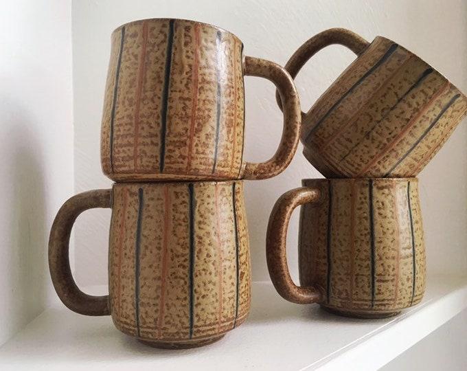 Set of 4 Handmade Ceramic Mugs / Brown Burnt Orange and Navy Studio Pottery Mugs / Farmhouse or Boho Kitchen and Home