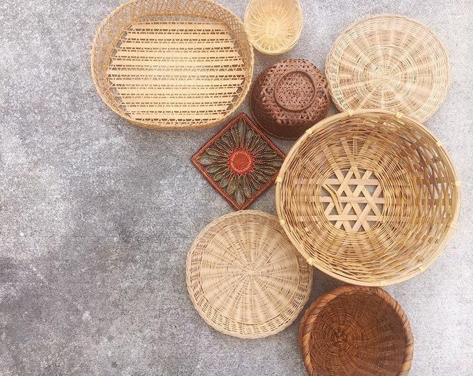 Boho Vintage Basket Wall Collection / Bohemian or Farmhouse Home, Nursery or Wedding Decor / Set of 8 Baskets and Trivets