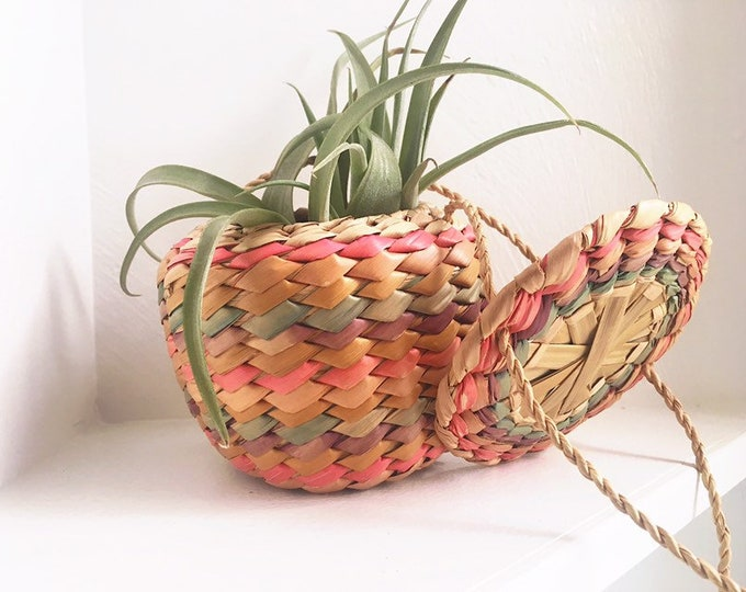 Boho Basket Decor / Woven Basket Purse / Hanging Basket Plant Holder