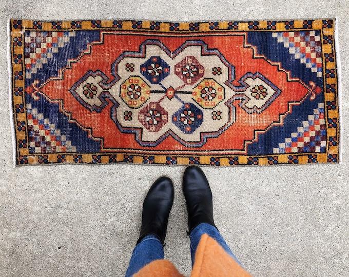 Vintage Handmade Wool Rug / 3.5ft X 2ft / Red, Burnt Orange, Blue Boho Turkish Rug / Eclectic Farmhouse Home Decor