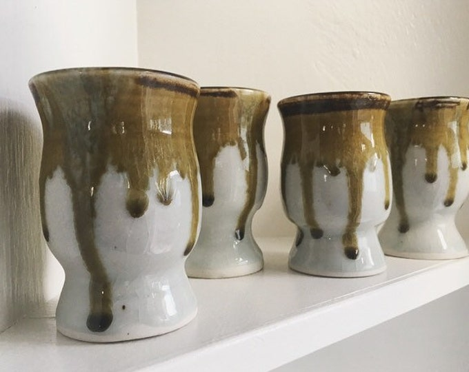 Collection of 4 Porcelain Drinking Vessels / Set of Ceramic Sake Coffee or Tea Cups / Vintage Boho Home or Kitchen